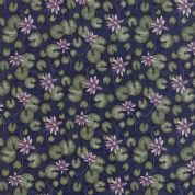 Moda - Summer on The Pond by Holly Taylor - 5722 - Lilypad Floral on Navy  - 6721 16 - Cotton Fabric